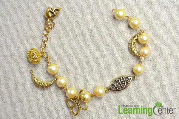 finish the pearl bead bracelet