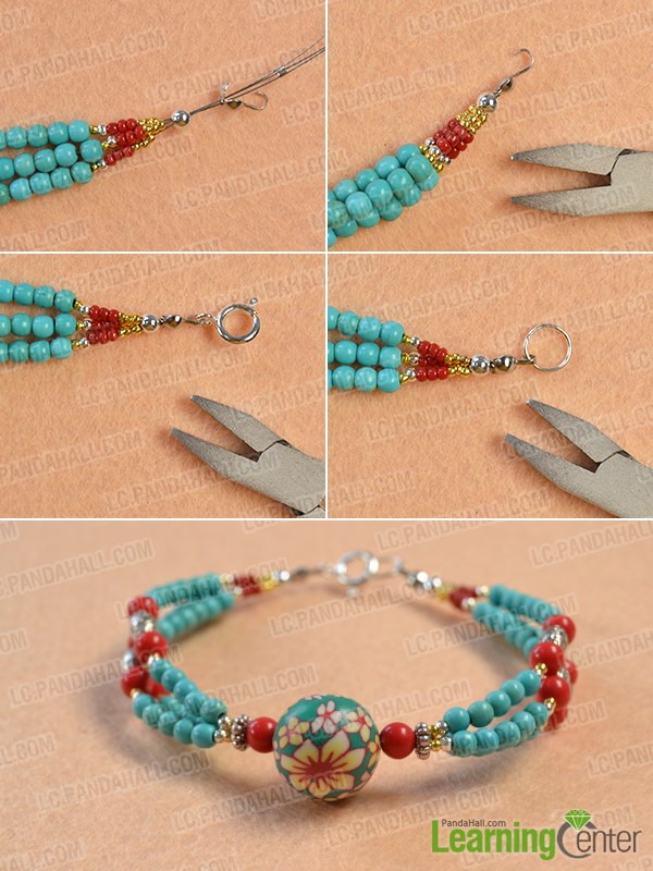 Finish the multi-strand ethnic bracelet