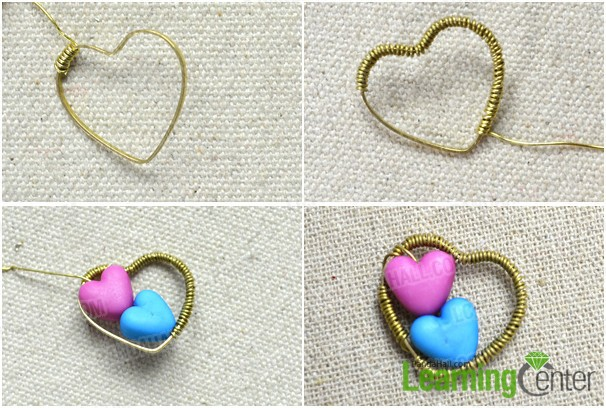attach beads to heart link ring