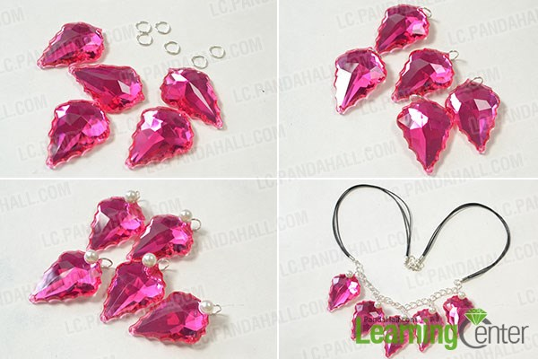 Add acrylic rhinestone leaf drop ornament