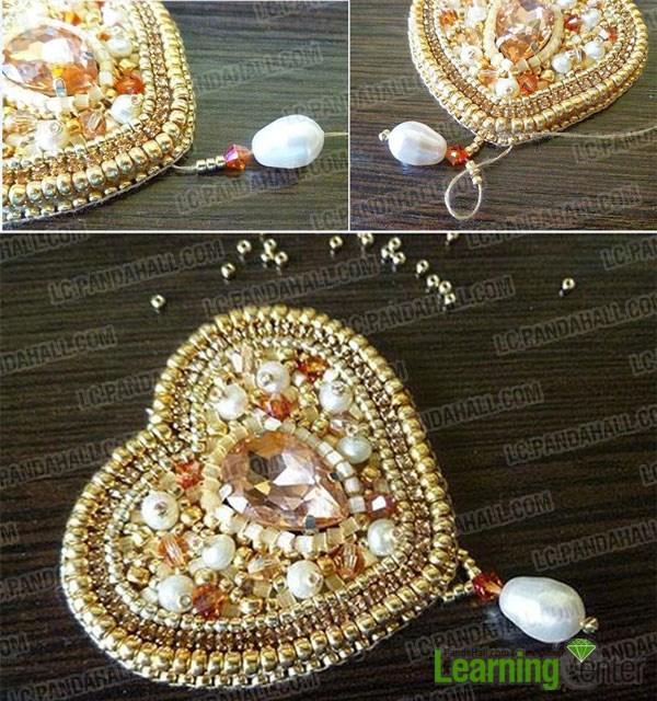 add beads below the heart shaped bead jewelry