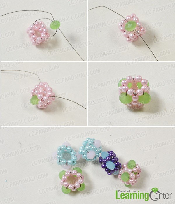 Make the third part of the gorgeous flower pearl bracelet