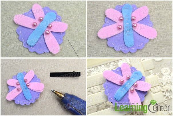 finish making this felt dragonfly hair clip