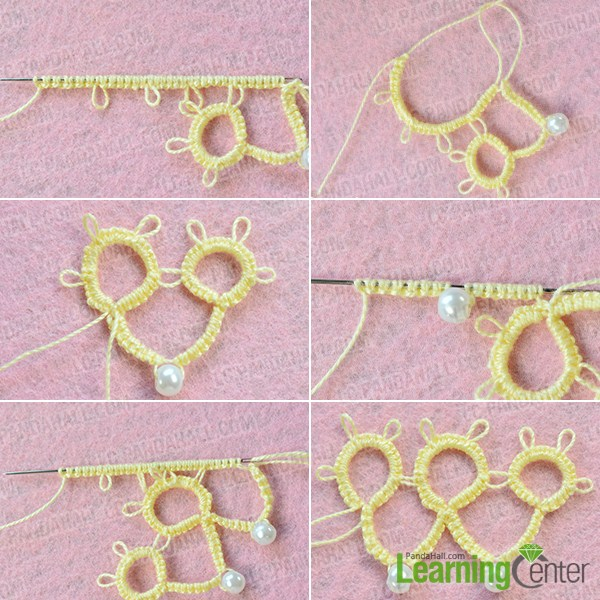 make the fourth part of the handmade yellow string flower bracelet