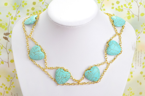 Wearing this beautiful double gold chain necklace: