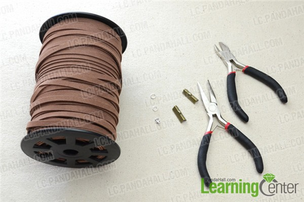 Materials and tools for making suede cord braided bracelet