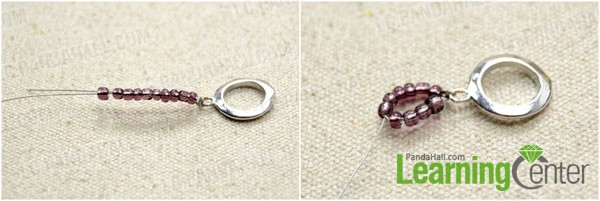 Make a beaded loop with 3mm seed beads
