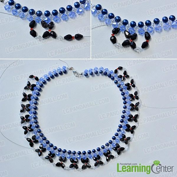 make black flower patterns for the blue and black necklace