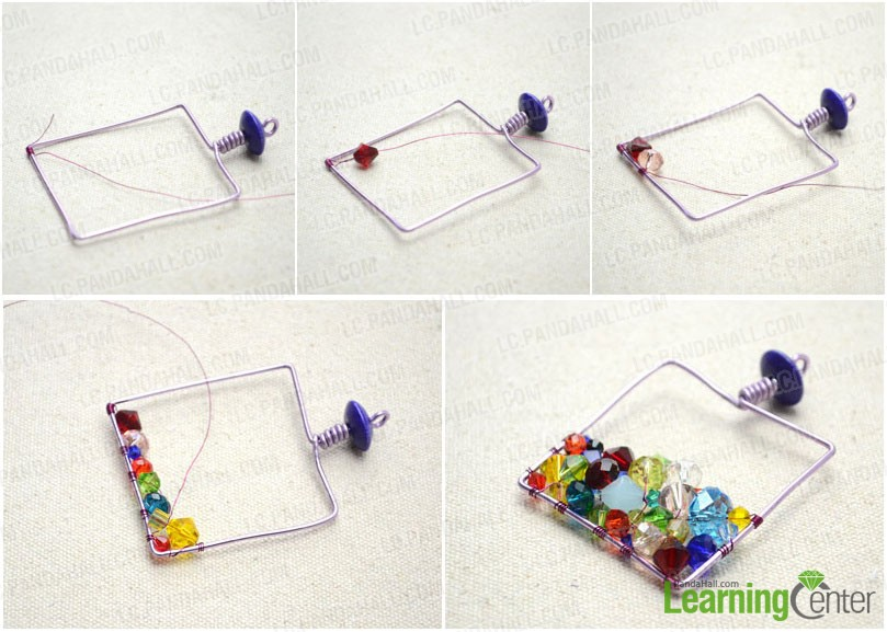 Embellish the wire frame with crystal-like glass beads