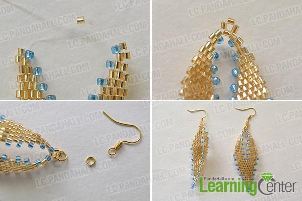 Step 4: Finish the beading leaf earrings