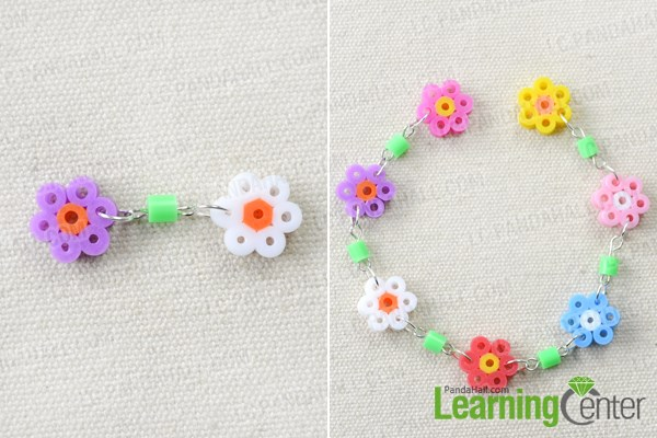 Make the hama bead flower bracelet patterns