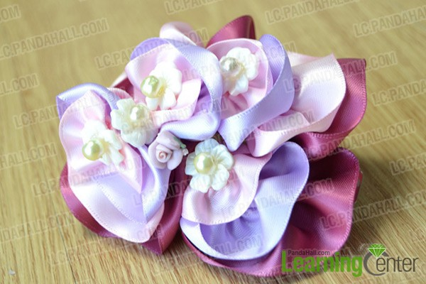 finished ribbon flower hair clip
