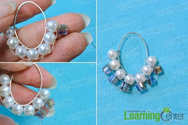 Add blue bugle beads