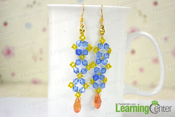 the finished long beaded crystal earrings