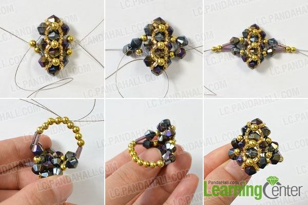Finish this simple glass and bulge beaded ring