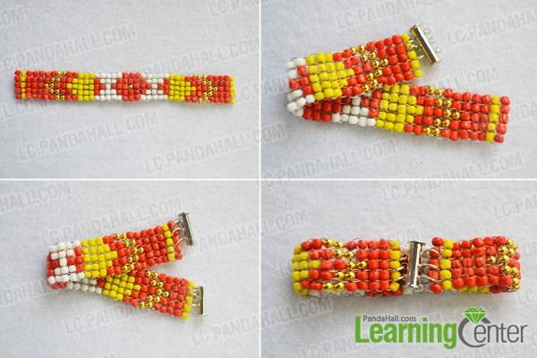 finish making wide stitch beading bracelet