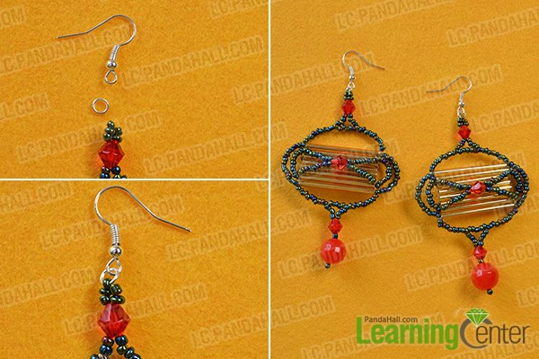 Finish the Chinese style seed bead lamp earrings
