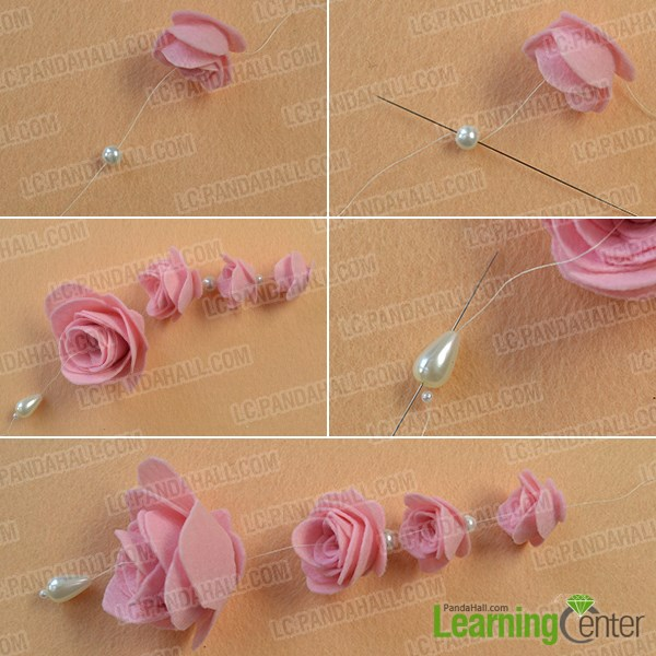 Make felt rose dangles
