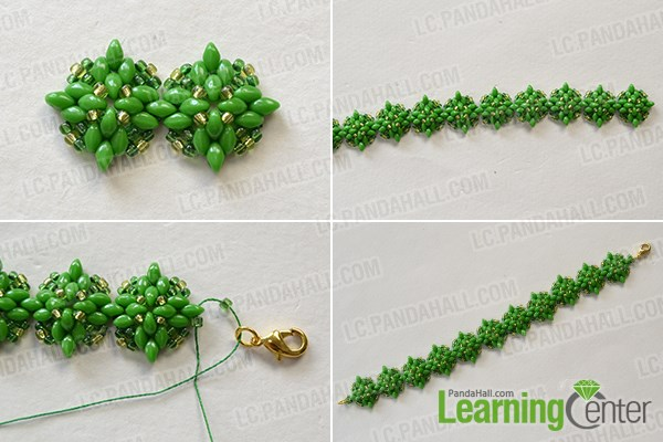 Finish this green seed beads bracelet