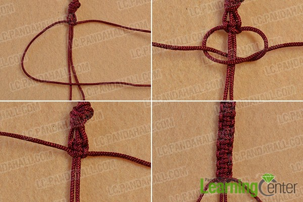 make the second part of the square knot bracelet