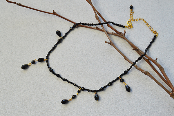 Here is the finished black bead choker necklace