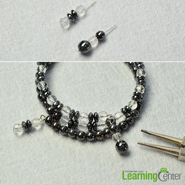 finish the cool hematite beads and clear glass beads bracelet