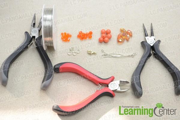 Necessities for orange beaded fringe choker necklace: