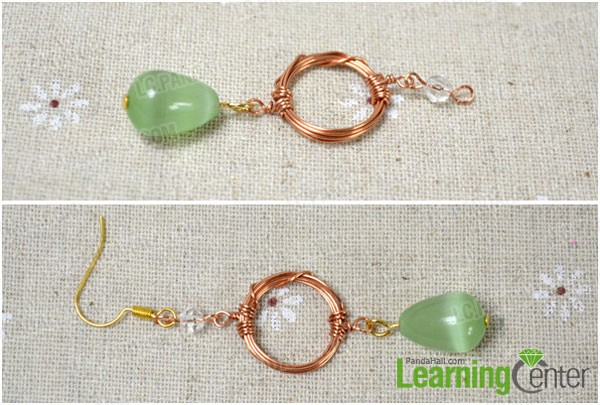 attach beads findings and wire wrapped circle to hook earrings