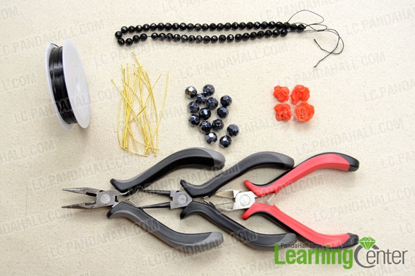 Supplies needed for making the new clustered bracelet