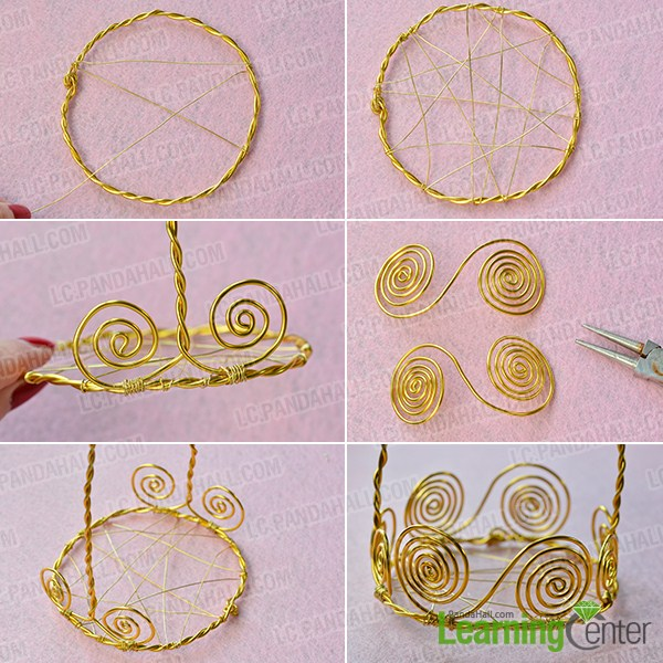 make the first part of the golden wire wrapped angel candle holder