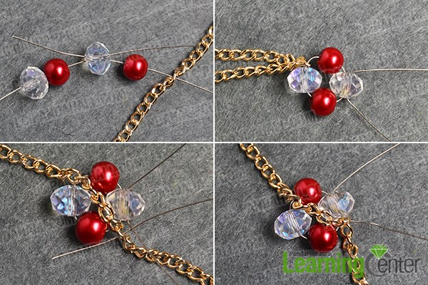 Step 1: Make the basic part of this red bead bracelet