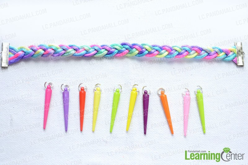 How to Make a 3 Strands Braided Bracelet with Acrylic Spike Beads