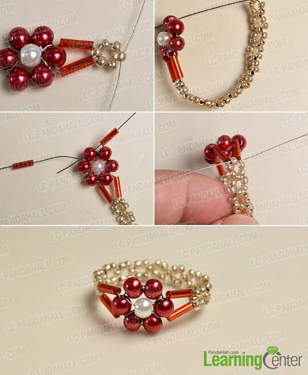 Complete the beaded flower ring