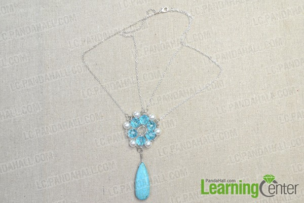 finish making the beaded flower necklace