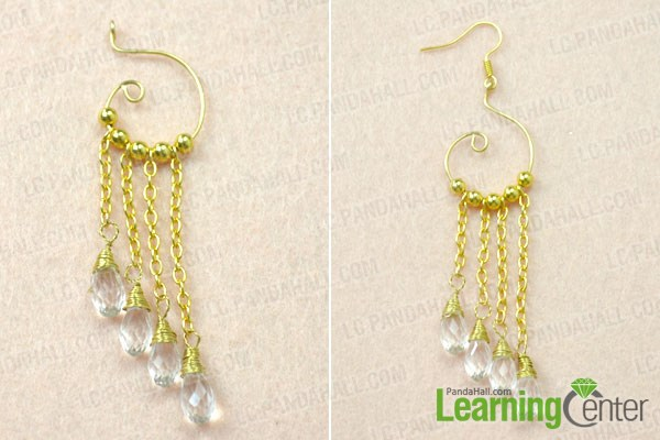 Finish the gold chain link dangling earrings for wedding