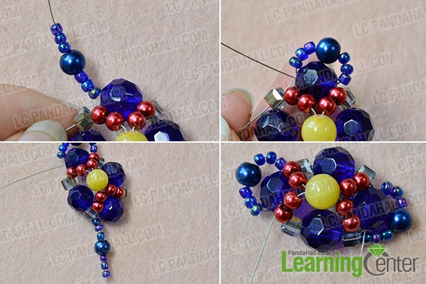 make the second part of the blue bead pendant necklace