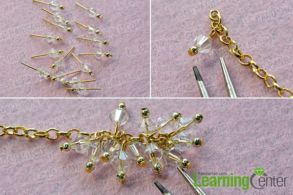 Step 1: Make glass and acrylic beaded patterns for this pretty charm bracelet