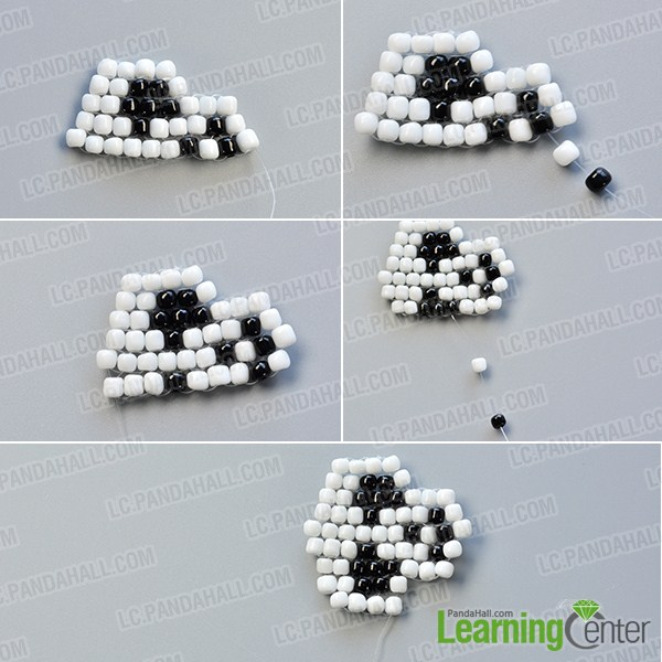 make the fourth part of the white and black bead skull earrings