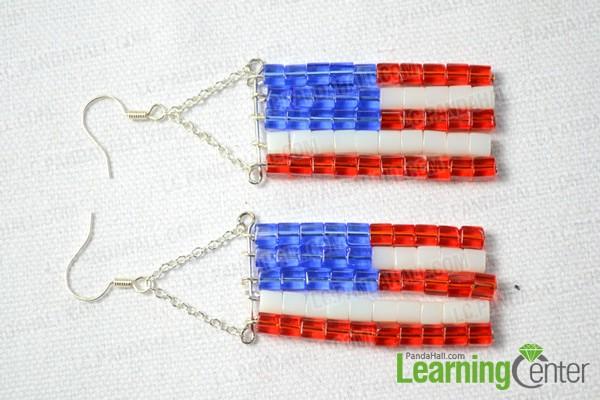 finishing the beaded American flag earrings