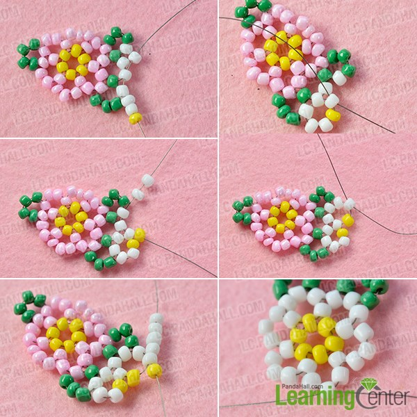 Bead a white flower pattern
