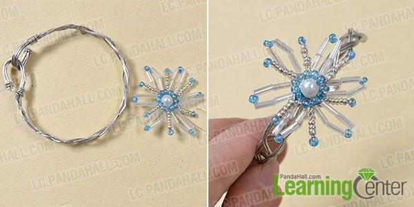 Finish the seed bead snowflake bangle bracelet