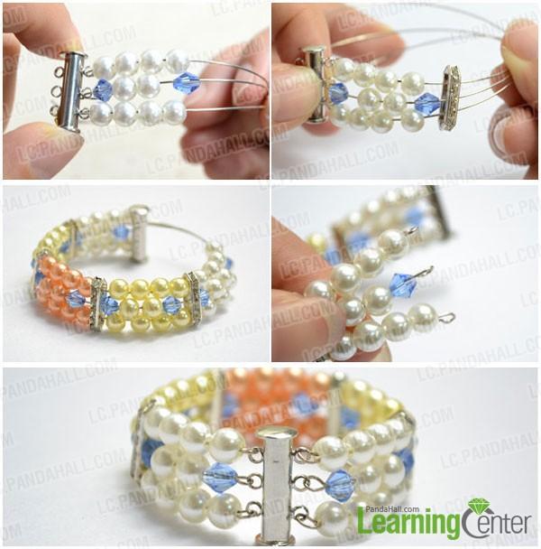 start beading multi strand pearl bracelet