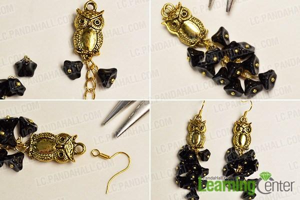Finish the flower beaded earrings