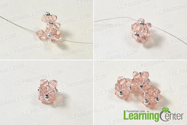 Finish the pink glass beaded ball