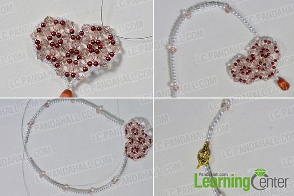 make the rest part of the red bead heart pendant pearl necklace