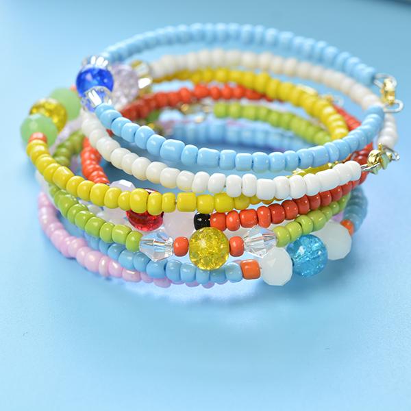 final look of the multiple seed bead bracelets