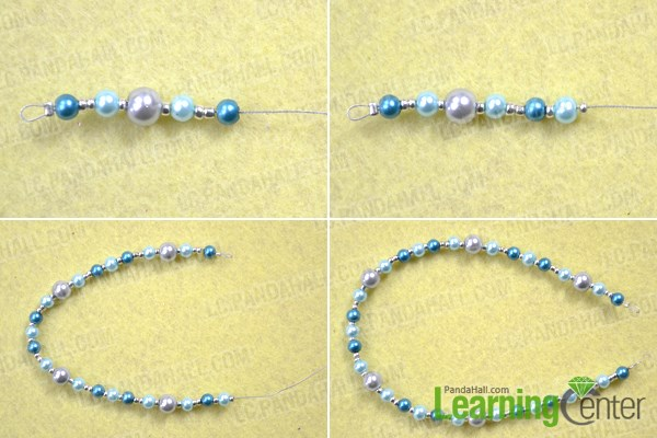 Sting the third strand for making triple strand pearl necklace