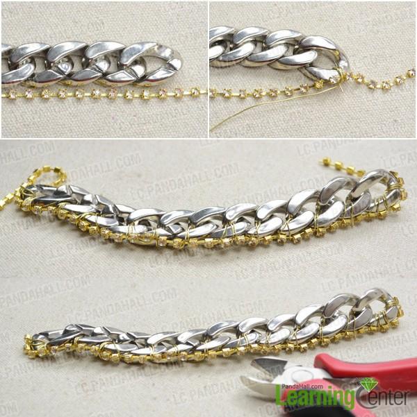 Step 1: Combine rhinestone chain with chunky chain