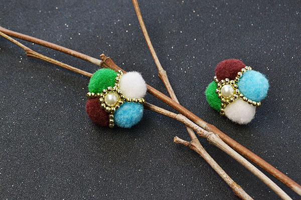 final look of the colorful pom pom ball flower stud earrings