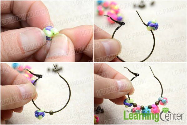 slide the button knots and spacer beads on hoop earring
